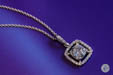 Cushion Cut Diamond Pendant with a Diamond Halo and Chain